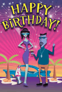 60's Beatniks Birthday Card