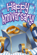 Blue Gift Box Opened Anniversary Card
