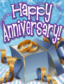 Blue Gift Box Opened Small Anniversary Card