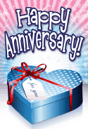 Blue Heart Box Anniversary Card