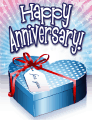 Blue Heart Box Small Anniversary Card