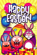 Bunnies Monsters Presents Easter Card