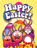 Bunnies Monsters Presents Small Easter Card