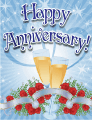 Champagne and Roses Small Anniversary Card