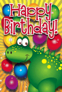 Dinosaur and Balloons Birthday Card
