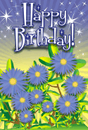 Aster Flower Birthday Card