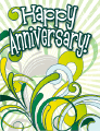 Green Abstract Small Anniversary Card