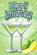 Green Cocktails Anniversary Card
