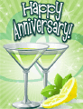 Green Cocktails Small Anniversary Card