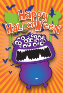 Purple Halloween Monster Card