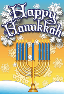 Happy Hanukkah Snow Card