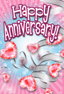 Heart-shaped Jewels Anniversary Card