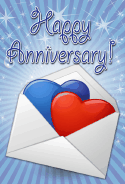 Hearts and Envelope Anniversary Card