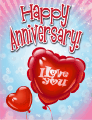 I Love You Heart Balloon Small Anniversary Card
