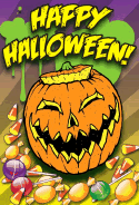 Jack-o-Lantern with Candy Halloween Card