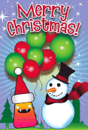 Monster Snowman Balloons Christmas Card