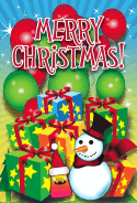 Monster Snowman Gifts Balloons Christmas Card