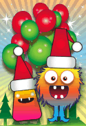 Monsters and Balloons Christmas Card