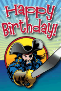 Pirate with Sword Birthday Card