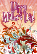 Red Swirls Mother's Day Card