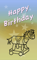 Rolling Horse Birthday Card