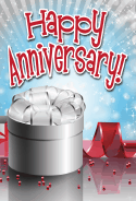 Silver Gift Red Beads Anniversary Card