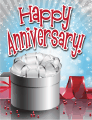 Silver Gift Red Beads Small Anniversary Card