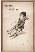 Sledding Happy Holidays Card