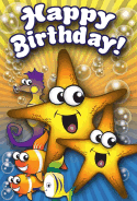 Starfish Fish Seahorse Birthday Card