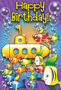 Submarine and Fish Birthday Card