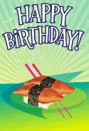 Sushi Unagi Birthday Card