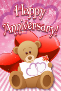 Teddy Bear with Hearts Anniversary Card