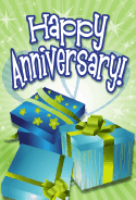 Three Blue Gifts Anniversary Card