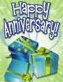 Three Blue Gifts Small Anniversary Card