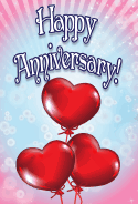 Three Heart Balloons Anniversary Card