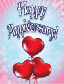 Three Heart Balloons Small Anniversary Card