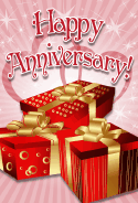 Three Red Gifts Anniversary Card