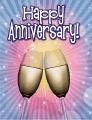 Two Champagne Flutes Small Anniversary Card