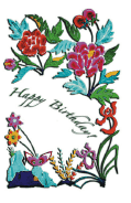 Birthday Card with Needlework