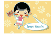 Birthday Card with Girl and Cake