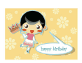 Birthday Card with Girl and Cake (small)