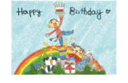 Birthday Card with Boy and Girl on a Rainbow