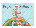 Birthday Card with Boy and Girl on a Rainbow (small)