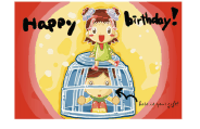Birthday Card with Girl and Boy