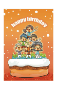 Birthday Card with Kids on a Cake