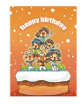 Birthday Card with Kids on a Cake (small)