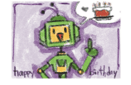 Birthday Card with Robot and Cake