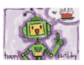 Birthday Card with Robot and Cake (small)