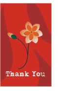Thank You Card with Red Flower