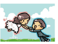 Wedding Card with Groom Swinging Bride (small)
